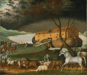 'Noah's Ark' by Edward Hicks (1846). According to Jewish tradition, Noah's Ark was nothing at all like this.