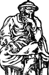An illustration of Rabbi Akiva from the Mantua Haggadah of 1568