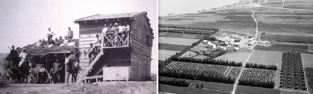 Degania Alef, the first kibbutz, in 1910 (Left), and in 1931 (Right)