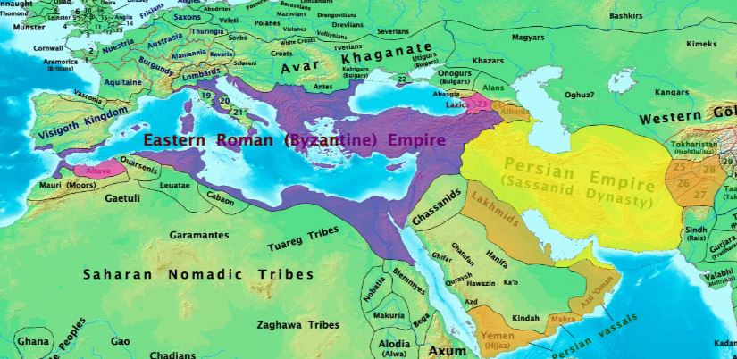 Sasanian and Eastern Roman (Byzantine) Empires before the rise of Islam