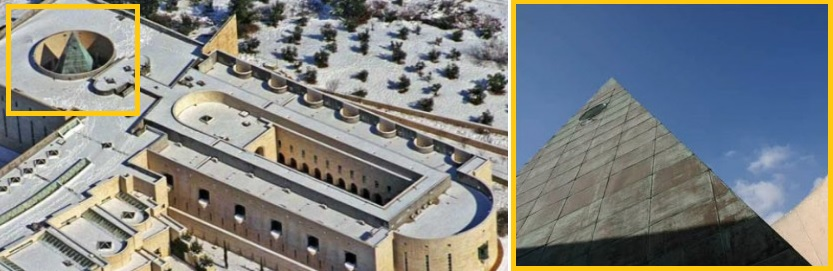 Aerial View of Israeli Supreme Court Building in Jerusalem, and Close-Up of Pyramid