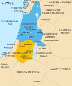 Map of Israel in the 9th Century BCE, showing the Kingdoms of Judah and Israel